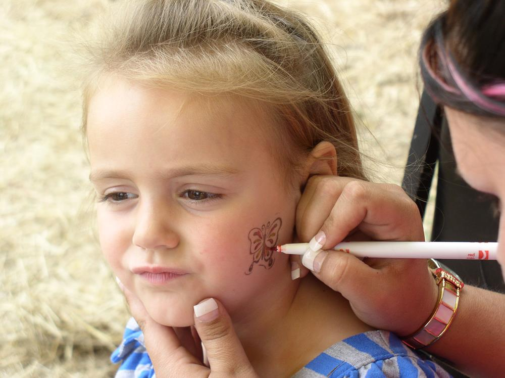 girl getting butterfly painted on face